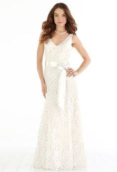 Brides.com: . Lace wedding dress with ribbon belt, $490, After Six