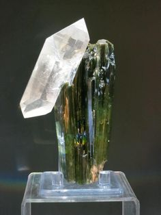 crazy quartz on tourmaline, Brazil. This is a double terminated Quartz crystal on a tourmaline crystal