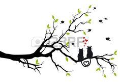 chats dans l'amour sur une branche d'arbre avec une illustration des oiseaux Banque d'images