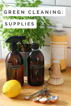 Get started with green cleaning. Enjoy this guide to natural eco friendly cleaning supplies - from exactly what you need, to where to source amber glass bottles, and castile soap and more. And as a bonus there are some eco friendly cleaning recipes to get you started.