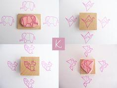 Gommes à graver françaises style origami.