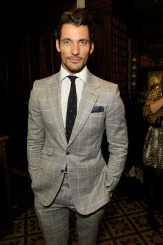 The sartorial David Gandy in a Tommy Hilfiger windowpane check at the London Collections Men dinner 2014 men's suits 2014, men dinner, david gandy, david gandi