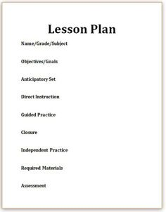 This is a editable lesson plan template for an individual subject ...