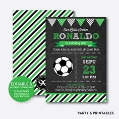 Instant Download, Editable Soccer Birthday Invitation, Soccer Ball Invitation, Football Invitation, Boy Invitation, Chalkboard #soccer #invitation