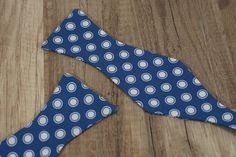 Handmade blue polka dot bow tie  self tie / freestyle by BOLDTies, $30.00