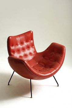 Carlo Hauner and Martin Eisler; Iron, Brass and Leather Lounge Chair, 1950s.