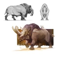 ArtStation - Herbivores, Nikolay Toshev - The thunder horse legend actually arose from occasional discoveries by the Sioux Nation of huge fossilised bones