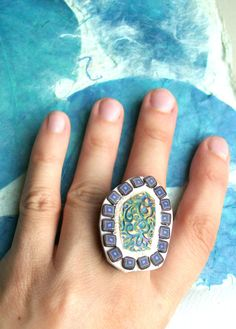 Purple cocktail ring mosaic rustic purple off-white by HunkiiDorii