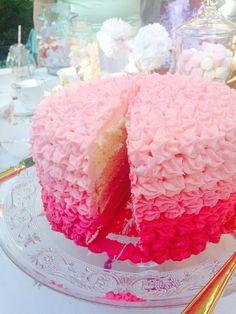 Ombré cake pink. Bridal shower. High tea. Teacups. Sweet 16 th