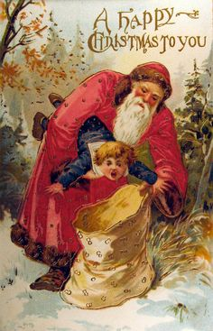 Am I the only one who feels sorry for this little boy? lol.  This postcard makes it look like Santa is stuffing him in the bag!