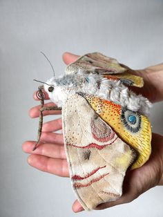 The idea that people are making this out of fabric is incredible to me!!! UNREAL! TALENT!!! so creative! Fabric sculpture Large moth textile art by irohandbags on Etsy