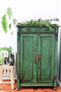 ASCP Antibes Green Armoire Painted and Distressed.