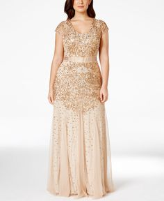 Found at Macy;s *Make a sweeping entrance in Adrianna Papell's gorgeous plus size gown, featuring delicate bead and sequin embellishments on airy chiffon.