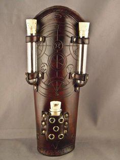 Brown leather bracer  Alchemist  by IsilWorkShop on Etsy, $75.00