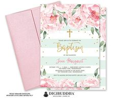 BAPTISM INVITATION Girl Christening Invitation Girl Baptism Invites Blush Pink Peonies Mint + Gold Dedication Printed or DiY Invite - Jenn
