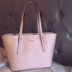 Calvin Klein Tote Bag Purse Metallic pink with gold accents, mint condition, BEST OFFER Calvin Klein Bags Totes