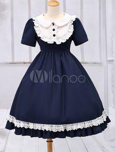 Marineblaue Lolita einteiliges Kleid Asibuto Penta Kurzarm Turndown Kragen Lace Trim - Lolitashow.com