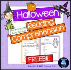 Halloween Reading Freebie - Meet Kit, the Cat Girl and Vic the Vampire!