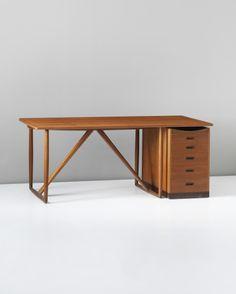 Ejner Larsen and Aksel Bender Madsen; Teak and Rosewood Desk by Willy Beck, c1957.