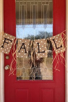 Instead of a traditional wreath, hang this DIY Fall Burlap Banner across your door to spell out your excitement for the season. It's the perfect welcome sign! Burlap Projects, Burlap Crafts, Fall Projects, Burlap Decorations, Fall Burlap Banner, Burlap Banners, Fall Bunting, Burlap Fall Decor, Burlap Signs
