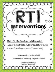 Teach it With Class: RtI Interventions-letters, letter sounds, high frequency words Intervention Specialist, Response To Intervention, Reading Specialist, Reading Intervention, Reading Assessment, Upper And Lowercase Letters, High Frequency Words, Cvc Words, Letter Recognition