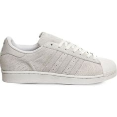 ADIDAS Superstar 1 suede trainers (355 PEN) ❤ liked on Polyvore featuring shoes, sneakers, chalk white, white lace up shoes, lace up shoes, lacing sneakers, laced up shoes and white shoes