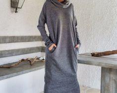 Autunno inverno maglia asimmetrica Maxi Abito di SynthiaCouture