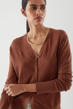 LINEN CARDIGAN - Brown - Cardigans - COS FR Button Up, Knitwear, Women Wear, V Neck, Slim, Knitting, Long Sleeve, Fitness, Sleeves