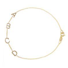 thumbnail image of 14k gold letter bracelet cass bracelet maya brenner site