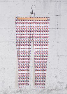 Yoga Capri Pants - United States Of America in Blue/Purple/Red by VIDA Original Artist Capri Leggings, Capri Pants, Vida Design, Yoga Capris, Purple, Blue, Print Patterns, Pajama Pants, The Originals
