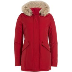 Woolrich Arctic Down Parka found on Polyvore featuring outerwear, coats, jackets, winter, red, red parka coat, red parkas, fur hood coat, fur hood parka and woolrich coats