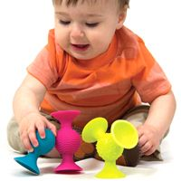 pipSquigz and over 7,500 other quality toys at Fat Brain Toys. The ultimate KEEP-THEIR-ATTENTION TOY has arrived! Meet pipSquigz, they're Fun Little Suckers! Watch baby interact with playful colors, fun sounds, fresh tactile experiences and super suction.