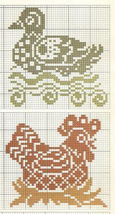 duck and chicken cross stitch irisha-ira