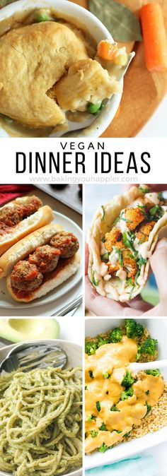 Quick and Easy Vegan Dinner Ideas. Quick and Easy Vegan Dinner Ideas. Quick and Easy Vegan Dinner Ideas, a compilation of 10 menu ideas to mix up your dinner routine and get your family eating healthier! Easy Vegan Dinner, Vegan Dinner Recipes, Whole Food Recipes, Cooking Recipes, Healthy Recipes, Kids Vegan Meals, Kids Dinner Ideas Healthy, Quick Vegetarian Dinner, Quick Vegan Meals