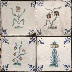 Floral design on Delft wall tiles, 18th century