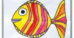 Onderwijs en zo voort ........: 2500. Vissen knutselen : Opvouwvis met grote bek