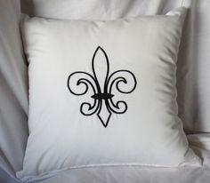 Fleur de lis Black & White Pillow Cover black and white bedroom ideas inspiration