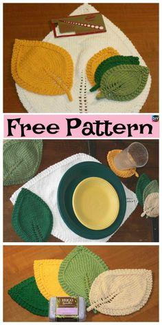 Pretty Knitted Leaf In Three Sizes – Free Pattern #freeknittintpatterns #leaf #homedecor