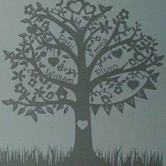Deluxe Family Tree Papercut A family tree papercut that features the name of each family member amidst the delicate branches. Perfect wall art to add an elegant touch to any home