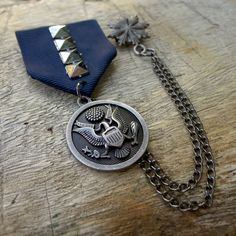 $3.99 U.S. Military Badge Custom Jewelry with safety pin navy blue ribbon and eagle medal for clothing decoration