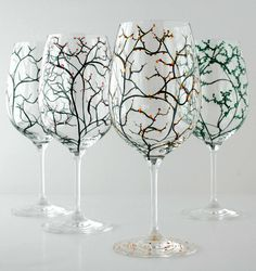 Four Seasons Wine Glasses--4 Piece Hand Painted Collection by Mary Elizabeth Arts