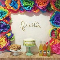Tissue paper flowers - backdrop for a birthday fiesta - just do a border and then hang a happy birthday sign in the middle? Mexican Fiesta Party, Fiesta Theme Party, Taco Party, Mexican Fiesta Decorations, Fiestas Party, Housewarming Party, Party Time, Party Party, First Birthdays