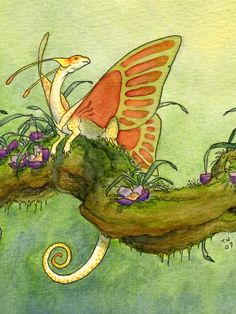 "Fairy Dragon  Exotic Dragons by Teal Newcomb  6""x6"", watercolor"