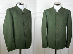 Green Trachten Jacket, German Vintage Wool Blend Traditional Bavarian Octoberfest Hunting Jacket: XL, Size 44 US/UK by YouLookAmazing on Etsy