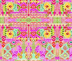 indian summer ikat pink orange fabric by katarina on Spoonflower - custom fabric