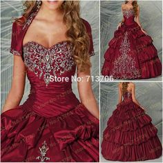 2015 New Arrival 3339S elegant burgundy with fee jacket Embroidery ball gown  prom dresses Quinceanera Dresses f2d7060a4016