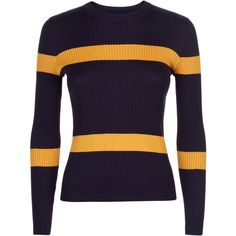 Jaeger Ribbed Stripe Cropped Sweater, Navy (€150) ❤ liked on Polyvore featuring tops, sweaters, shirts, purple long sleeve shirt, long sleeve sweater, striped sweater, patterned sweater and navy blue long sleeve shirt