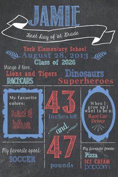 First Day of School Chalkboard Sign / Classical / Printable / Back to School Poster / Kindergarten / Preschool / first grade / Blackboard