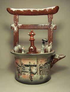 """Чайник """"Посвящение Хирошиге"""". Александр и Татьяна Бузлановы. Творческая мастерская """"Капля Росы"""". #Чайник, #керамика, #teapot, #ceramics teapot, ceramics, чайник, чайник керамика, чайник гончарный, керамика гончарная, чайник ручная работа, чайник авторский, чайник роспись"""