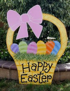 Easter Basket Yard Art. This cute Easter basket is made of Baltic birch piece with 2 coats of polished varnish for protection. It's so great to decorate your yard with this bright color art piece. http://hative.com/creative-easter-outdoor-decoration-ideas/